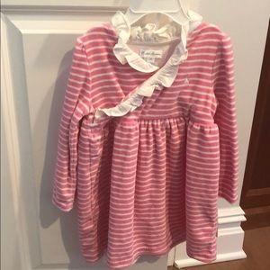 "Ralph Lauren 24 months Pink Stripe ""Velvet"" Dress"